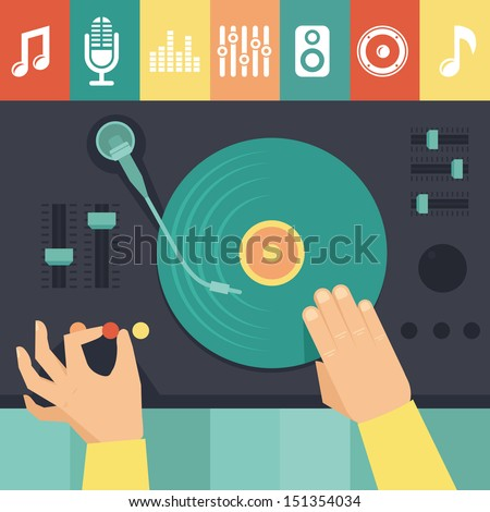 Vector turntable and dj hands - music concept in flat retro style - stock vector