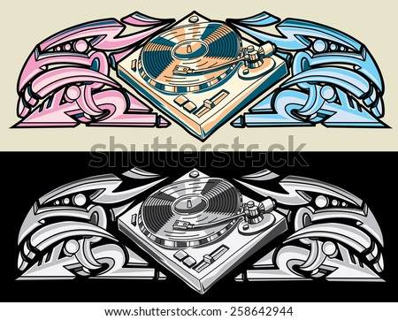 Vector turntable and graffiti - stock vector