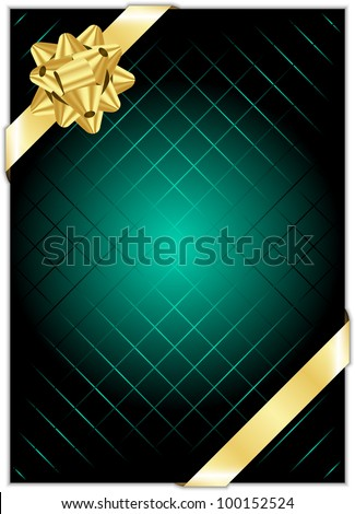 Vector turquoise background with gold bow - stock vector