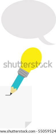 Vector turquoise pencil with yellow light bulb tip with lined paper and grey speech bubble.