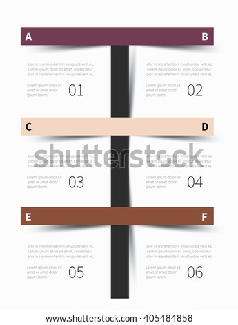 vector tutorial, steps graphic business summary 6 options / infographic template background - stock vector