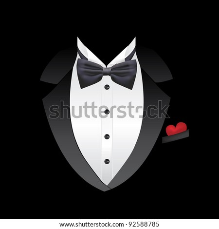 Vector tuxedo with bow tie. Heart in the pocket.