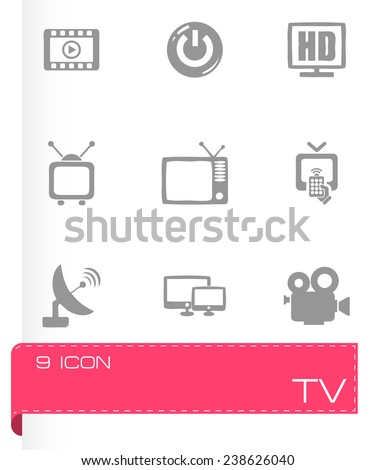 Vector tv icon set on grey background - stock vector