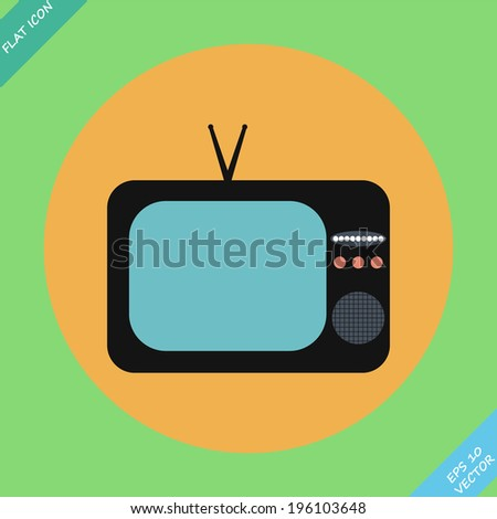vector TV icon- vector illustration. Flat design element - stock vector