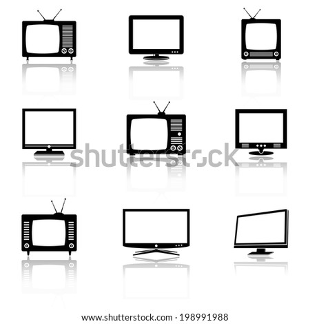 Vector TV icons  - stock vector