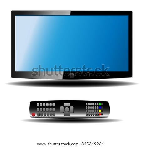Vector tv with remote controller isolated on white background