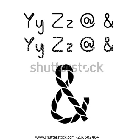 Vector twine font alphabet - simple rope letters - Y, y, Z, z, &, at sign - stock vector