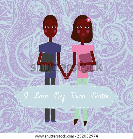 Winter Twins Love My Twin Sister Vector 232361119 Shutterstock – Twin Sister Birthday Card