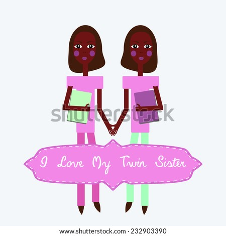 Vector Twins I love my twin sister happy birthday invitation card - stock vector