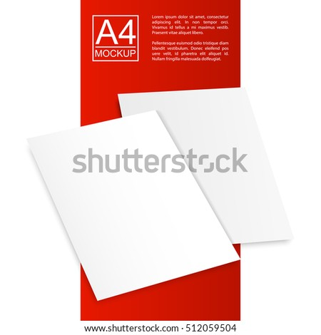 Vector Two A4 mockup isolated on white and red background with dots background. Red Line series. Ready for your design.