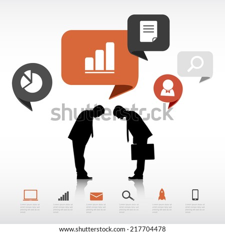 Vector Two Businessmen Bowing with Social Media Concept - stock vector
