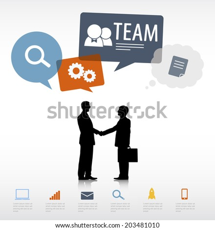 Vector Two Businessmen Handshake with Social Media Concept - stock vector