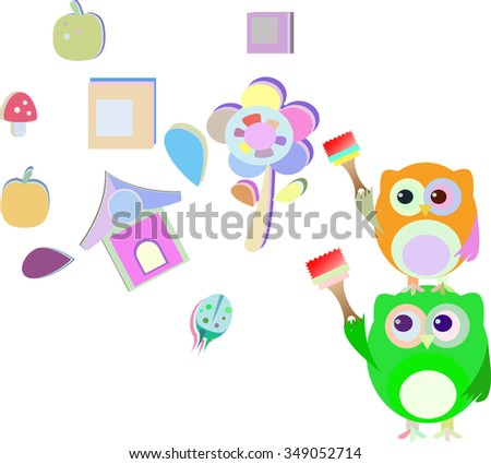 vector two cute owl painter - stock vector