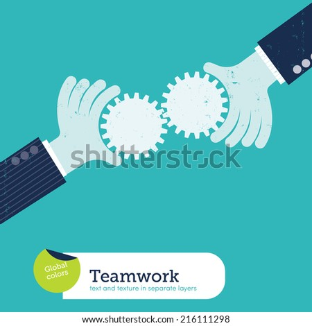 Vector two hands with gears. Vector illustration Eps10 file. Global colors. Text and Texture in separate layers. - stock vector