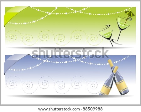 vector two header for new year - stock vector
