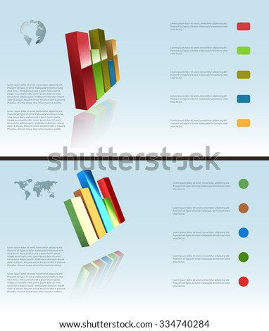 Vector Two Infographic Backgrounds, Eps 10 Vector, Gradient Mesh and Transparency Used, Raster Version Available - stock vector