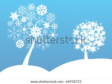 vector two snow trees in the snow - stock vector