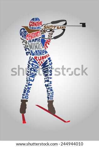 vector typographic biathlon nordic cross country skier character design - stock vector