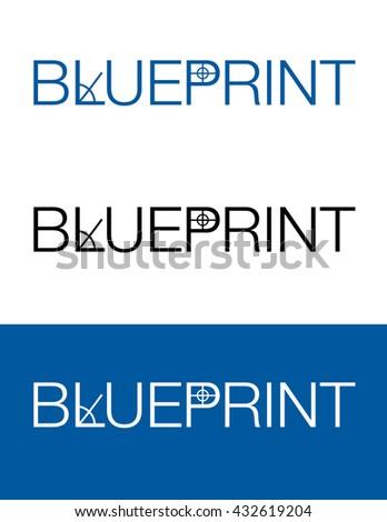 Vector Typographic Blueprint Icon Set - stock vector