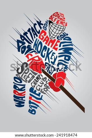 vector typographic design of dynamic ice hockey player - stock vector
