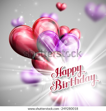 vector typographic illustration of handwritten Happy Birthday retro label on the balloon hearts background with shiny flash. holiday composition  - stock vector