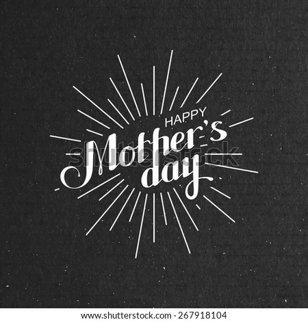 vector typographic illustration of handwritten Happy Mothers Day retro label with light rays. lettering composition  - stock vector
