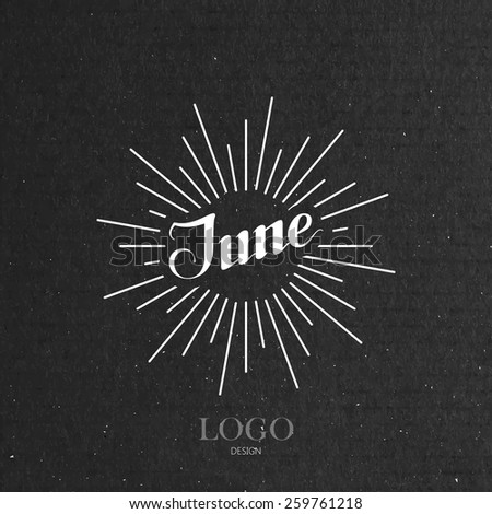 vector typographic illustration of handwritten June retro label with light rays. lettering logo composition  - stock vector