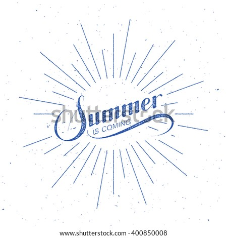 vector typographic illustration of handwritten Summer Is Coming retro label with light rays. lettering logo composition. handwritten lettering Summer label  - stock vector
