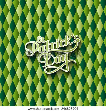 vector typographical illustration of handwritten Saint Patrick's Day label on the multicolored geometric pattern. holiday lettering composition - stock vector
