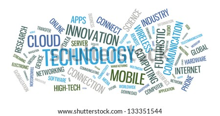 Vector typographical word cloud illustration with multiple words on the technology theme in different sized fonts and different orientations. - stock vector