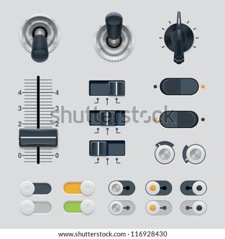 Vector UI dials set - stock vector