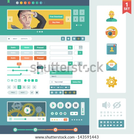Vector UI elements for web and mobile. Flat design trend. Controls, buttons,icons and media player. Fitted to the pixel grid.