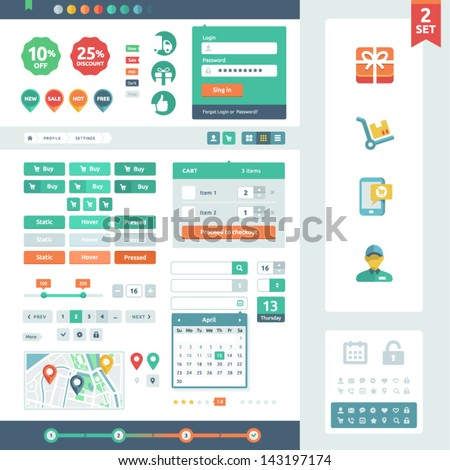 Vector UI elements for web and mobile. Flat design trend. Labels, buttons and icons. Fitted to the pixel grid. - stock vector