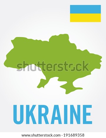 Vector Ukraine Map and Flag Set