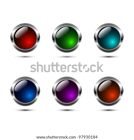 Vector ultra glossy color buttons with metal rim - stock vector