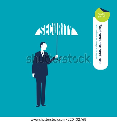 Vector umbrella security. Vector illustration Eps10 file. Global colors. Text and Texture in separate layers. - stock vector