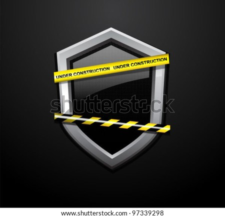 Vector under construction sign. Do not cross police tapes over black glossy shield. - stock vector