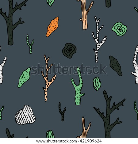 Vector under sea seamless pattern with hand drawn coral and stones.