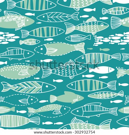 Vector underwater seamless pattern with fishes. Seamless pattern can be used for wallpapers, web page backgrounds. - stock vector