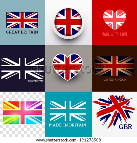 Vector Union Jack Collection. Set of various British flags and UK symbols, vector illustration. - stock vector