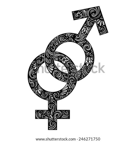 Vector Union of Male and Female Gender Symbols. Original Patterned Design - stock vector