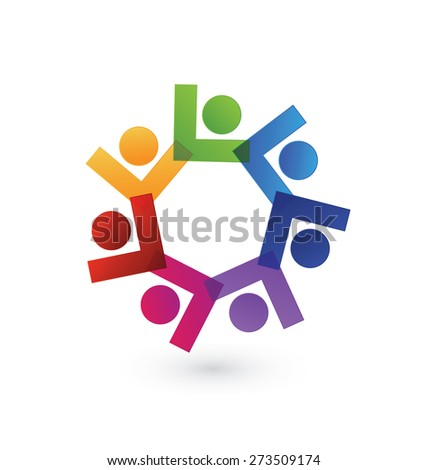Vector union teamwork concept of community,business, education,workers,children,unity,social networking logo icon image template - stock vector