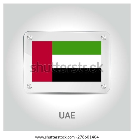 Vector United arab emirates UAE Flag glass plate with metal holders - Country name label in bottom - Gray background vector illustration - stock vector