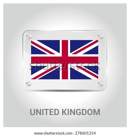 Vector United Kingdom British great britain UK Flag glass plate with metal holders - Country name label in bottom - Gray background vector illustration - stock vector