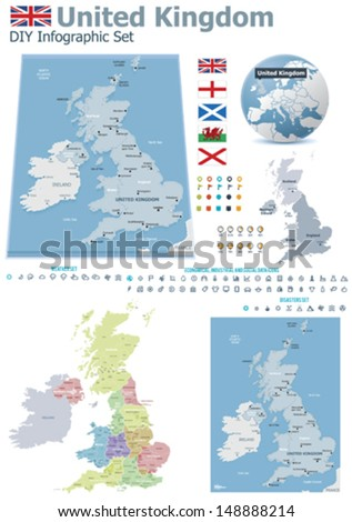 Vector United Kingdom political and administrative divisions maps; Great Britain, England, Wales, Scotland and North Ireland flags, Earth globe showing country location, map markers, related icon set - stock vector