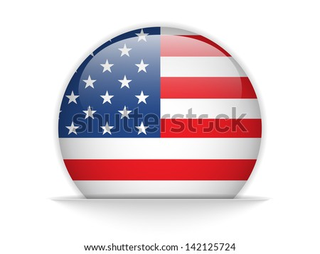 Vector - United States Flag Glossy Button - stock vector