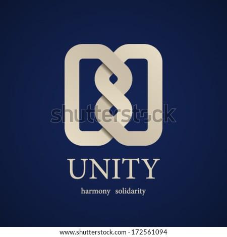 vector unity knot symbol design template - stock vector