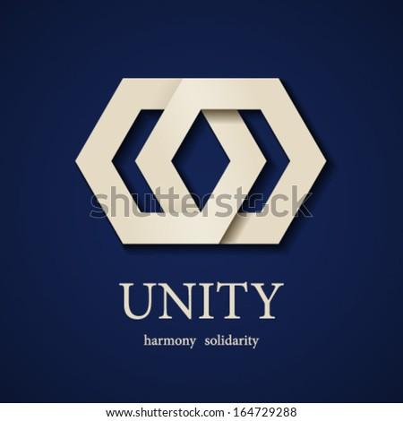 vector unity paper icon design template - stock vector