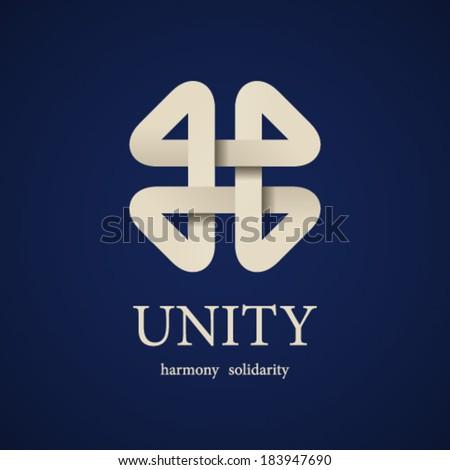 vector unity paper quarterfoil icon design template - stock vector