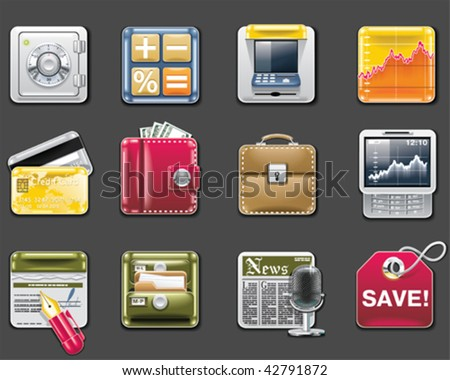 Vector universal square icons. Part 6. Banking (gray background) - stock vector